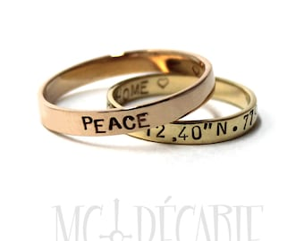 His &Hers 3mm rings set; 10K solid yellow and rose gold, 2 Rings band 3mm (1/8'') wide 2 tones, personalized coordinate ring wedding. #EJ163