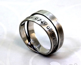 Simple loop 4mm ring with longitude and latitude engraved, sterling silver, satined finish. #J178