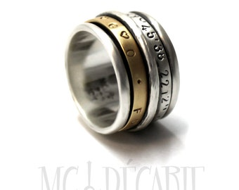 Spinner ring 13mm; 3mm 10k gold band and 2 silver spinners, 2 engraving included, sterling silver, ring men, wedding band, ring band. #JC244