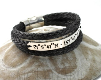 3 turns larger spectra bracelet, 8mm wide silver plate, longitude latitude engraved, sailor coordinates bracelet, id, medic alert. #BC128