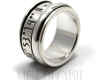 Spinner ring 13mm; 6mm spinner in silver longitude engraved gps spinner ring, coordinates ring in silver, memorial ring. #JC139