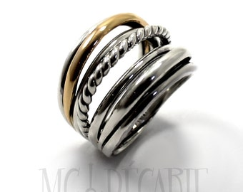 Voluminous silver and gold Ring with Twisted Wire in Sterling Silver 925 and 10k yellow gold, Wrap ring, wrap wire ring, gift for her. #B120
