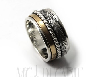 Spinner ring 13mm; 3mm 10k gold band and 2 silver spinners, one twisted cable 2mm and one 3mm, 2 engraving included, sterling silver. #JC210