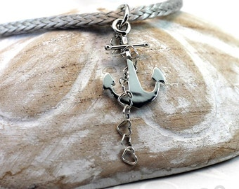 Small Anchor Pendant and Heart Chain, Sterling Silver, anchor necklace, anchor pendant, nautical gift. #PA130