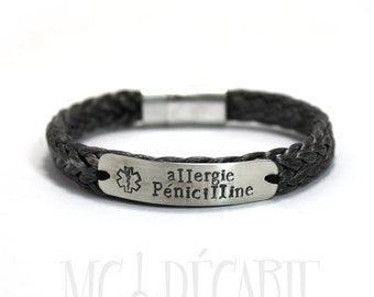Medical Bracelet in spectra rope, Sterling Silver 10mm plate with large nautical Rope, medic alert bracelet, diabetes bracelet, id. #BC130