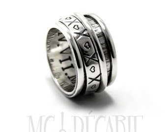 Spinner ring 14 mm wide only in sterling silver with 2 spinners, one 4mm and one 2mm, personalized rings, coordinates rings spinner. #JC140