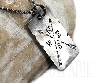 Personalized distressed dog tag necklace, army ID tag with text, symbol or coordinates, solid sterling silver. Chain not included. #H114