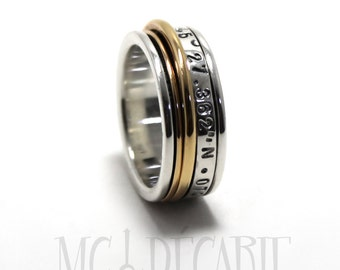 Spinner ring 9mm; two 10k yellow gold spinners and one 3mm wide silver spinner, spinning ring, personalize with text or coordinates. #JC209