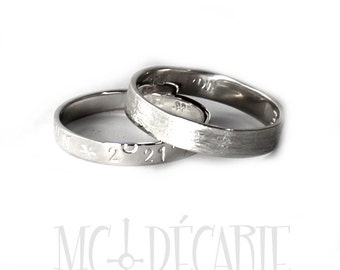 His & Hers: 3mm - 4mm ring band set, 2 engravings per each ring, two rings included, wedding rings, wedding band, personalized ring. #EJ112