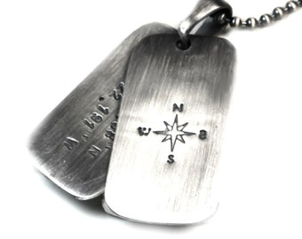 2 Personalized dog tags necklace, two army ID tag with text, coordinates necklace for men, solid sterling silver. Chain not included. #H107