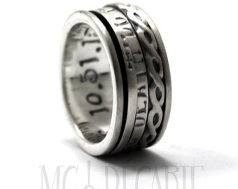 CRYPT CODE Spinner ring 10 mm; 2x 2mm flat spinner with personalized text, you need to turn the spinner to read the message, code. #JC118