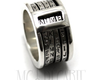 CRYPTEXT Spinner ring 12.5 mm wide; 4x 2mm flat spinner with alphabet, you can create any 4 letters words, Da Vinci code ring. #JC132
