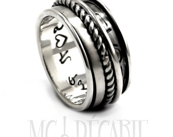 Spinner ring 13 mm wide only in sterling silver with 3 spinners and text UNDER the spinners, sailor coordinates rings, meditation. #JC127
