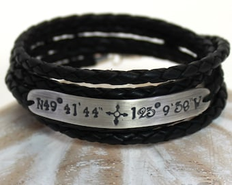 Leather coordinates bracelet, 8mm silver plate, 5 turns of braided leather rope. Longitude latitude bracelet, gift for him. #BC131