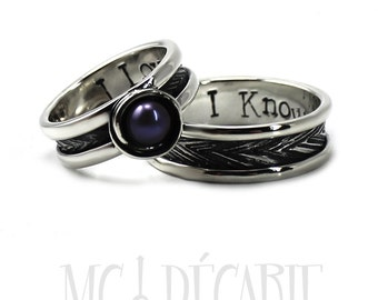His and Hers: ring band set, one with a pearl, 2 engravings & textures included on each ring, wedding band, promise ring, engagement. #EJ114