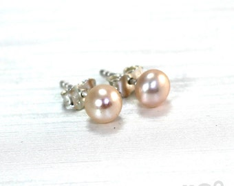 Pearls ear studs, 6-7 mm freshwater pearls with sterling silver, different color available. #BO113