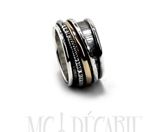 Spinner ring 13mm with 3 elements ; 1 in 10k gold and sterling silver, 3 round wire, unisex spinner ring band wedding ring. #JC219