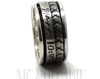 Spinner ring 12 mm wide, spinner 3mm and 4mm all in sterling silver with 2 flat spinner, personalized ring, coordinates ring spinner. #JC129