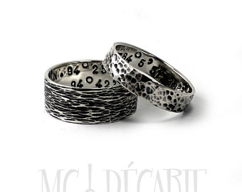 His and Hers: 5mm - 8mm ring band set, 2 engravings/texture per ring, 2 ring band set, wedding rings, promise rings, personalized. #EJ170