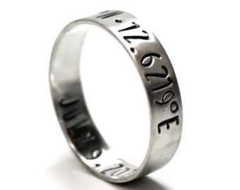 Ring band 6 mm with 2 engravings included, latitude longitude ring, personalized ring band, coordinate ring, stamped gps ring. #J156