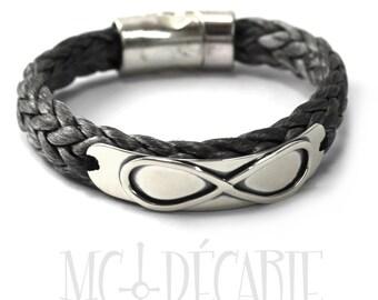 Infinity bracelet, rope bracelet, sailor bracelet, infinity symbol silver bracelet, gray bracelet, unisex gift, nautical. #BC111