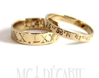 His & Hers rings 5mm - 3mm rings set 10K solid yellow gold, 2 engravings included on each ring, personalized coordinate ring wedding. #EJ127