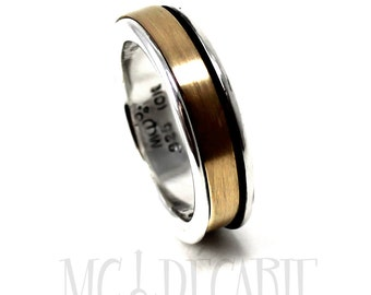 Spinner ring 7mm; 4mm 10k yellow gold element, solid sterling silver, unisex brushed spinner ring you can personalize on the spinner. #JC213
