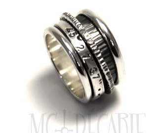 Spinner ring 13 mm wide only in sterling silver with 2 spinners, personalized rings, coordinates rings stamped ring. #JC133