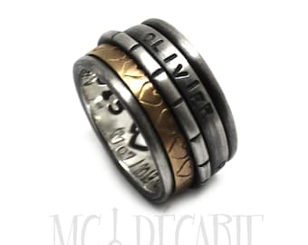 Spinner ring 13mm; 3mm 10k gold band and 2 silver spinners, one round and 1 3mm, 2 engraving included, sterling silver wedding band. #JC222