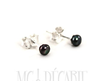 Pearls ear studs, 3-4 mm freshwater pearls with sterling silver, different color available. #BO107
