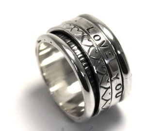 Spinner ring 13 mm wide only in sterling silver with 2 flat spinner, personalized rings, coordinates rings spinner. #JC102