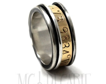 Spinner ring 9mm; 4mm spinner in 10k gold longitude engraved gps spinner ring, coordinate ring gold and silver, wedding ring. #JC246
