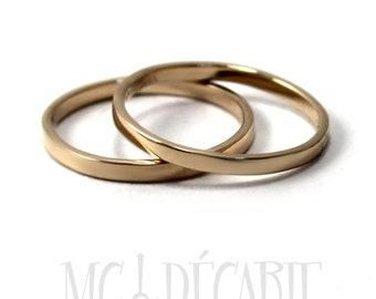 His & Hers Tiny gold rings set, 2mm wide in 10K solid yellow gold, with 2 engravings included, personalized coordinate ring wedding. #EJ155