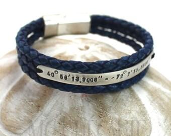 Blue Leather bracelet, 6 mm wide silver plate, personalized bracelet, longitude latitude bracelet, coordinate bracelet, gift for him. #BC124