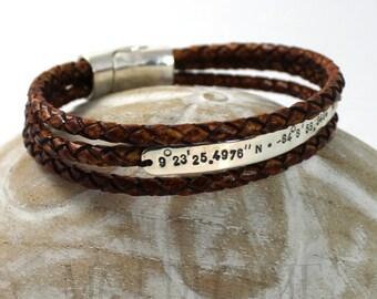 Leather bracelet, 6 mm wide silver plate, personalized bracelet, longitude latitude bracelet, coordinate bracelet, medic alert. #BC106