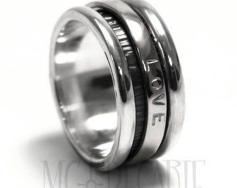 Spinner ring 10 mm; 3mm spinner; only sterling silver, personalized rings, coordinates rings stamped ring. #JC136