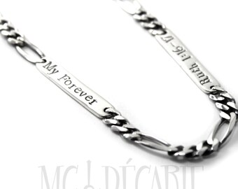 Personalized 5.30mm Figaro chain, up to 7 silver plates to engrave text, ID, dates, names or coordinates, large chain for men, chain. #H101