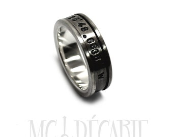Spinner ring 7mm; 4mm spinner in solid sterling silver, brushed spinner ring, can add custom text on the spinner or engraving inside. #JC122