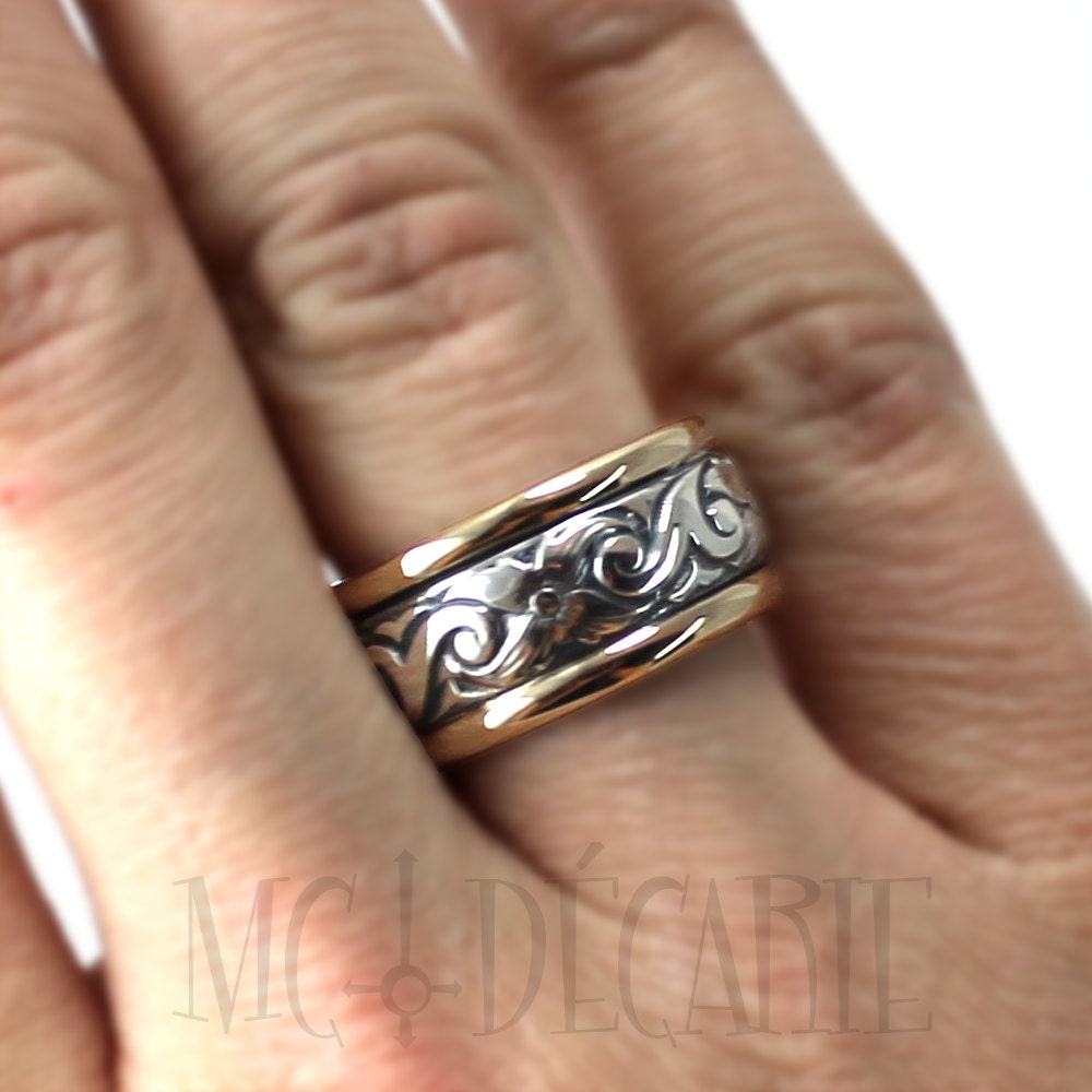 12mm ring band silver flower #J112 wedding band text inside wave custom ring