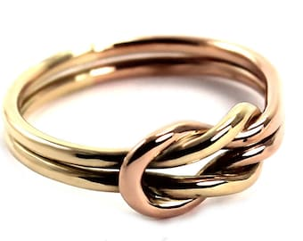 Solid gold Chunky double reef knot ring, double knot ring in 10k yellow and rose gold, friendship ring, sailor ring, silver ring. #B136