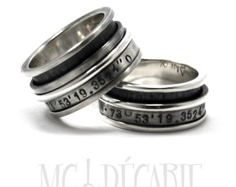 His and hers 2 spinner ring set in silver, one 13 mm and one 10 mm wedding ring set, personalized with engraving, coordinates rings. #EJ148