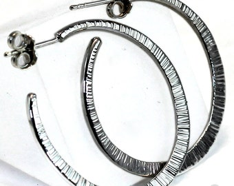 Hammered Hoop Earring Sterling Silver 92