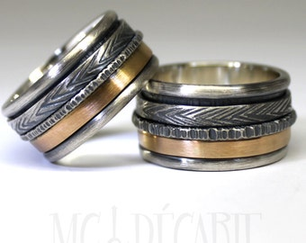 His & hers 2 spinner ring set with 10k gold, wedding ring set, unisex sterling silver personalized with engraving, coordinates ring. #EJ119