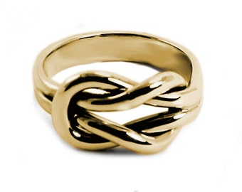 Chunky 10k gold double reef knot ring with engraving space, double knot ring in solid gold, friendship ring, sailor ring, thick knot. #B102