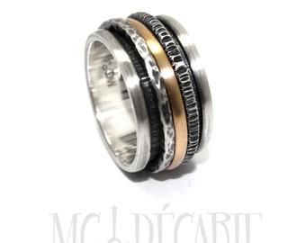 Meditation ring for women, Spinner ring gold, Silver and gold spinner ring, Anxiety ring silver, 13mm wide  #JC239
