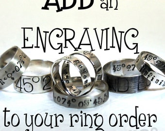 ADD an ENGRAVING or a TEXTURE to a ring order (this is not a ring)