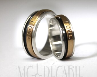 His & Hers spinner ring set, small wedding rings with 10k gold spinner, 2 engraving included per ring, personalized coordinates ring. #EJ111