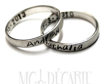 His and Hers: two 3mm ring band set, 2 engravings included on each ring, 2 ring band set, wedding rings, wedding band, personalized. #EJ104