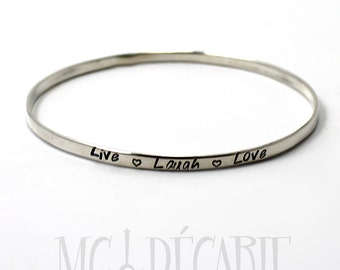 BANGLE with personalized text or texture, solid sterling silver bangle, flat wire 1.5mmx3mm thick. ID bracelet, coordinates bracelet. #BA106