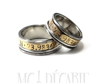 His & hers 2 spinner ring with set 4mm 10k gold spinner, silver, wedding personalized ring set, with engraving, dates, wedding band. #EJ109